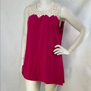 NWT Coco + Carmen swing tank with crochet accents